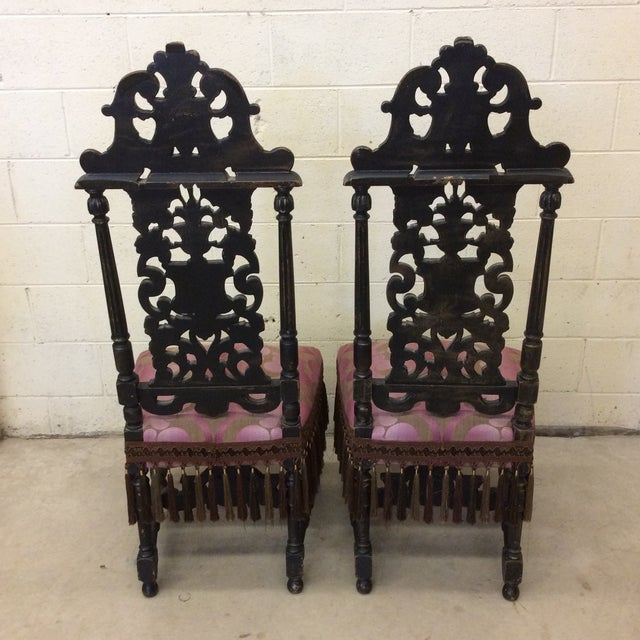 Carved Mahogany Jacobean Style High Back Chairs-A Pair For Sale - Image 4 of 13