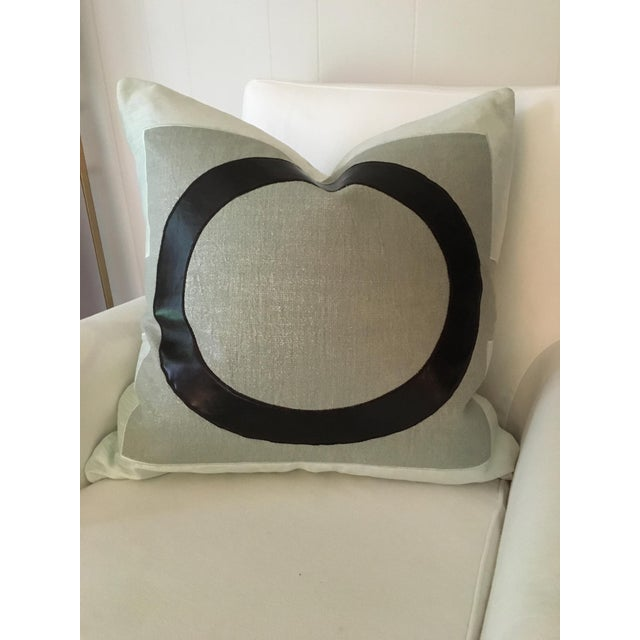"""22"""" Blue Metallic Linen with Vegan Leather Pillows, Lawson - A Pair For Sale - Image 4 of 4"""