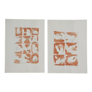 Orange Abstract Watercolor Paintings - A Pair For Sale