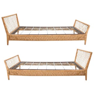 Mid-Century Wicker Daybeds - a Pair For Sale