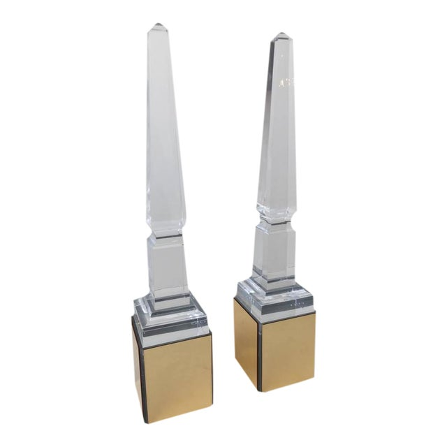 Pair of Tall Lucite Obelisk on Light Boxes For Sale