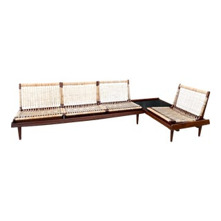 Hans Olsen for Bramin Mid-Century Modern Scandinavian Modular Bench Sofa and Loveseat-A Pair For Sale
