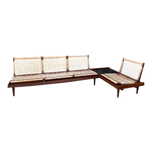 Hans Olsen for Bramin Mid-Century Modern Scandinavian Modular Bench Sofa and Loveseat-A Pair For Sale