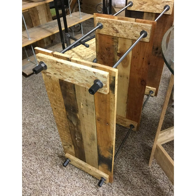 Adjustable Height Industrial Style 3-Shelf Pallet Wood Bookcase For Sale - Image 12 of 13
