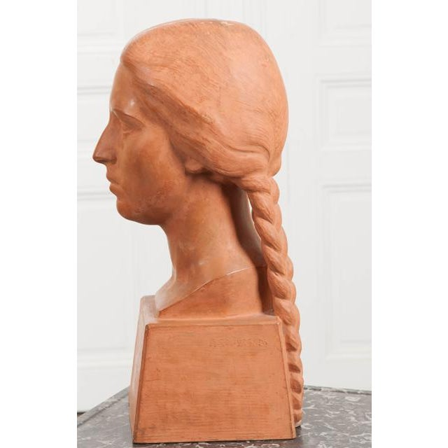 French Early 20th Century Terra Cotta Bust by Raymond Couvègnes For Sale In Baton Rouge - Image 6 of 9