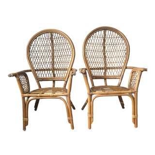 Mid-Century Modern Rattan Chairs - A Pair For Sale