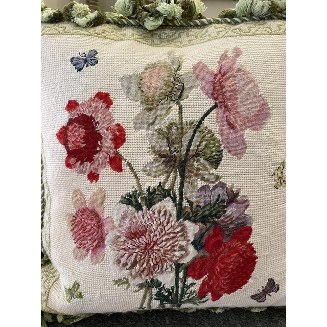 1990s Vintage Floral Down-Filled Pillow For Sale - Image 5 of 6
