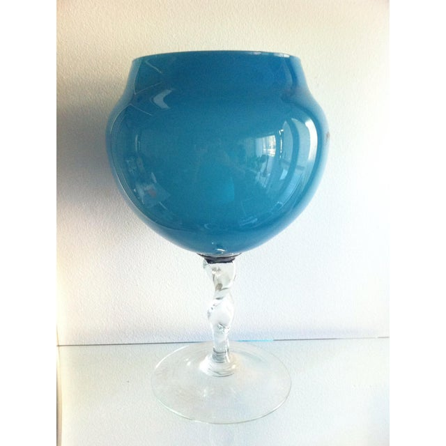 Mid-Century Modern 1960s Slate Blue Hand Blown Glass Twist Stem Compote For Sale - Image 3 of 3