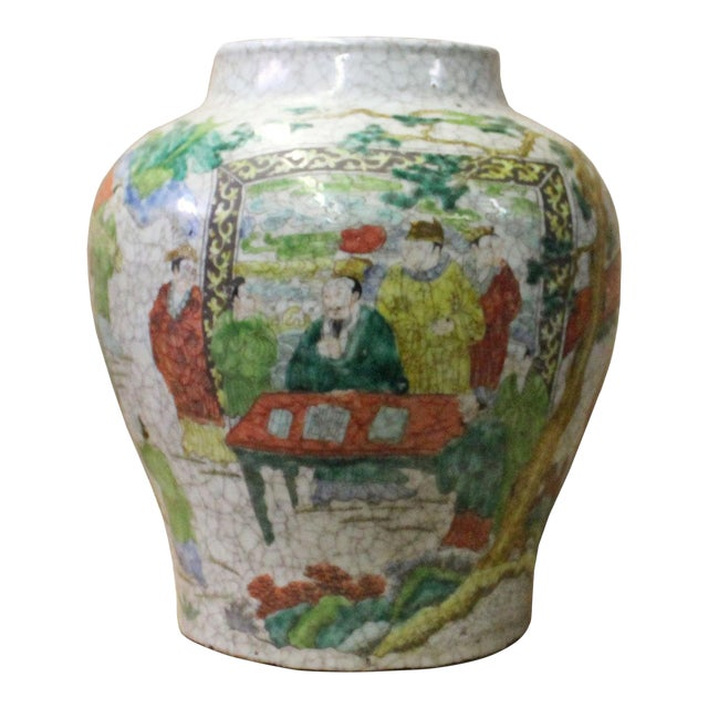 Chinese Handmade Gray White Crackle Base People Graphic Ceramic Pot Jar For Sale