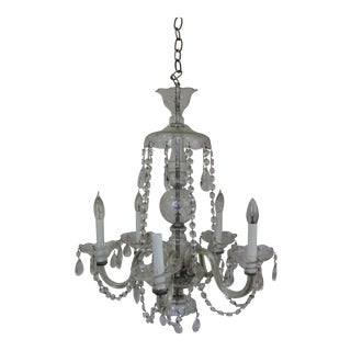 Vintage Crystal 5 Candle Light Chandelier For Sale