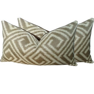 Lee Jofa Brown and Sand Greek Key Lumbar Pillows - A Pair For Sale