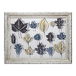 Mid 20th Century Minimalist Leaf Pattern Silkscreen Print, Framed For Sale