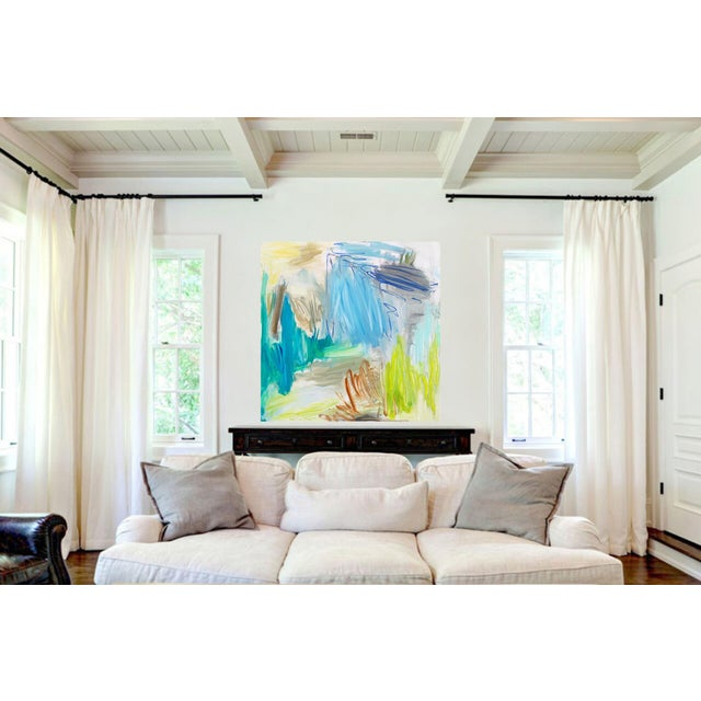 """Blue """"Huka Falls"""" by Trixie Pitts Large Abstract Oil Painting For Sale - Image 8 of 13"""