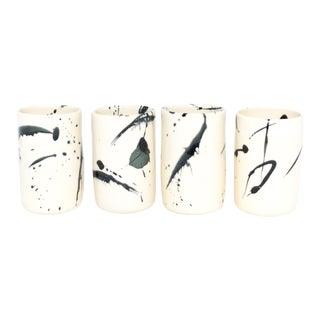 Black Splattered Ceramic Tumbler - Set of 4 For Sale