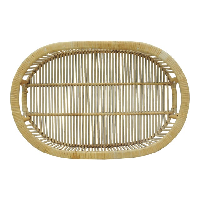 Vintage Rattan Woven Oval Serving Tray With Handles For Sale
