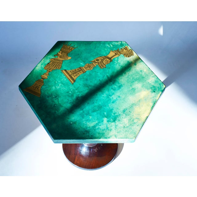 1950's Aldo Tura Hexagonal Side Table For Sale - Image 10 of 11