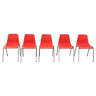 1980s Vintage Orange Stacking Shell Chairs- Set of 5 For Sale