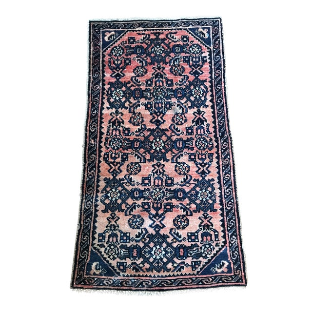 Blush and Navy Persian Rug For Sale