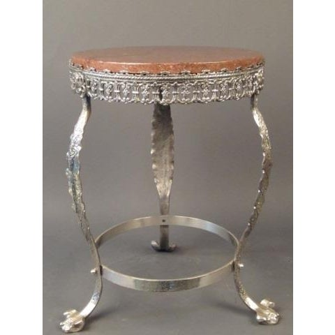 Metal 20th Century Art Deco Silver Over Bronze Side Table For Sale - Image 7 of 8