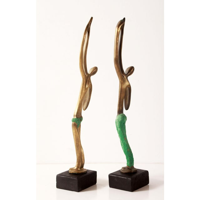 Modernist African Bronze Figural Sculptures From Angola - a Pair For Sale - Image 4 of 11
