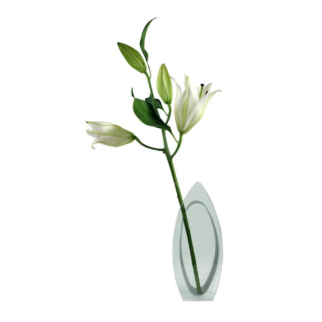 A modern glass bullet shaped vase, a quintessential throwback-to-Art-Deco-but-from-the1980s feel to it that works...