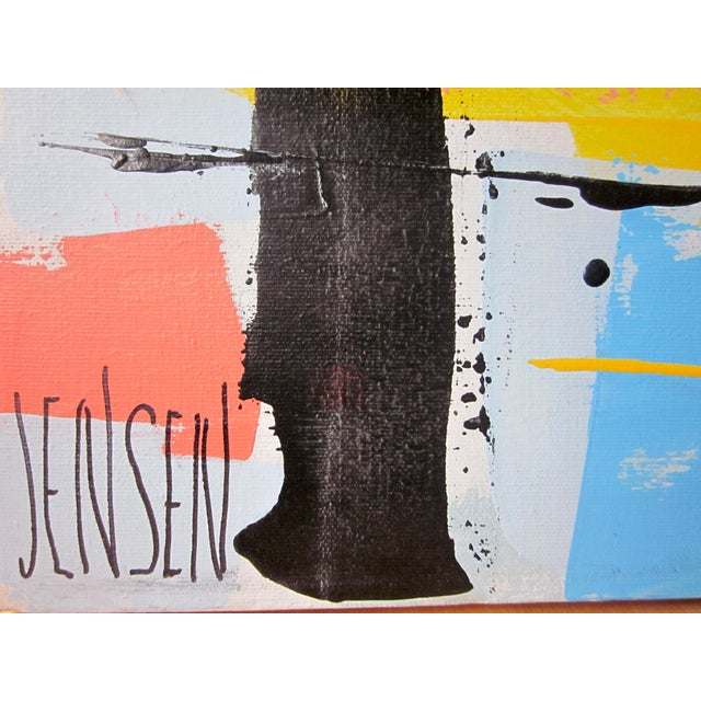 1960s Vintage Jensen Abstract Geometric Vertical Panel Acrylic on Canvas Signed Painting For Sale In Chicago - Image 6 of 7
