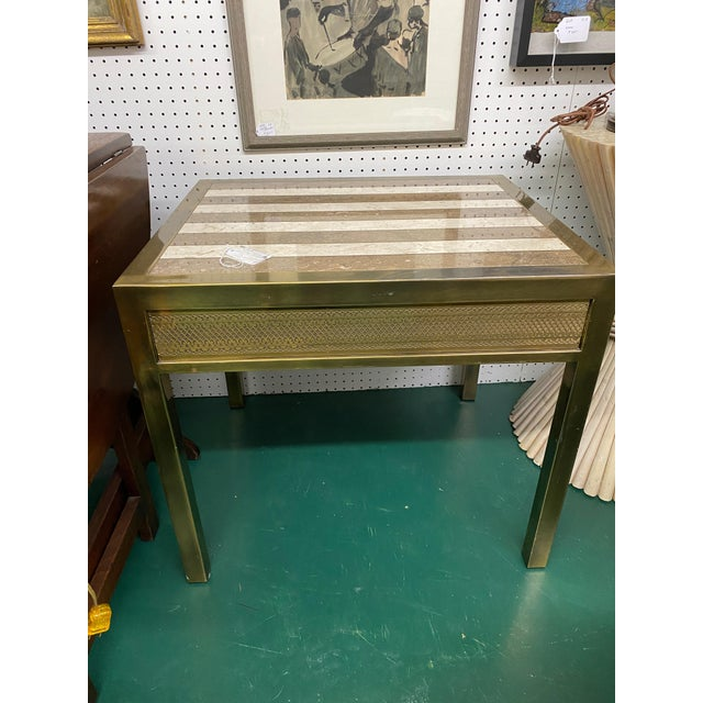 Metal Mid-Century Modern Mastercraft Marble & Brass Side Table For Sale - Image 7 of 7