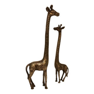 "Pair of Vintage 17"" Brass Giraffes For Sale"