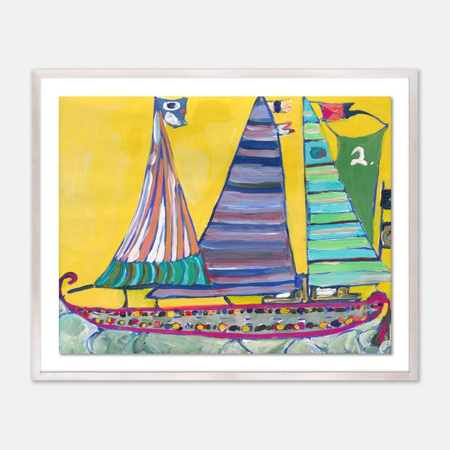 Contemporary SB Bahamas by Lulu DK in White Wash Framed Paper, Small Art Print For Sale - Image 3 of 3
