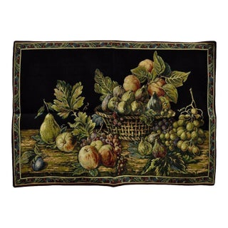 """42""""x26"""" French Wall Hanging Tapestry Aubusson Fruit Still Life Black Background"""