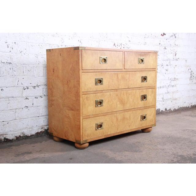 Henredon Henredon Burl Wood Campaign Style Five-Drawer Dresser Chest For Sale - Image 4 of 12