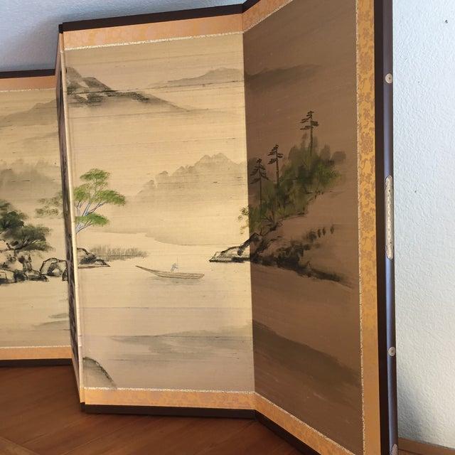 Vintage Japanese Four Panel Folding Screen | Chairish