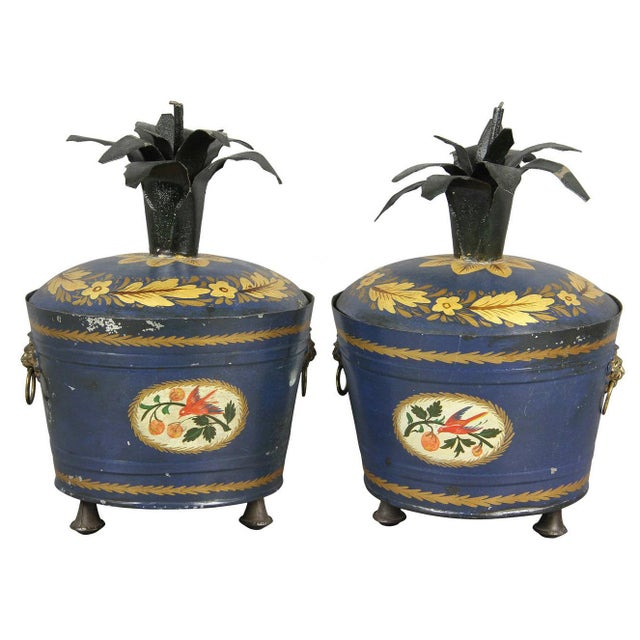 Pair of Swedish Tole Peinte Covered Barrels For Sale - Image 12 of 12