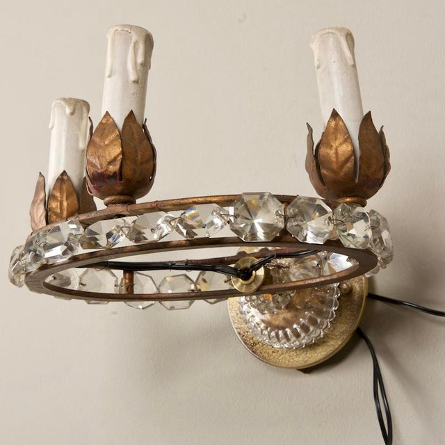 French Three Light Oval Crystal Beads Sconces - Pair For Sale - Image 4 of 8