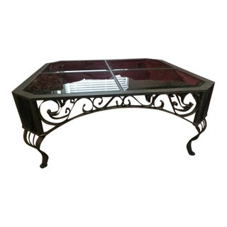 Vintage Spanish Bronzed Wrought Iron and Smoked Glass Ornate Cocktail Table For Sale