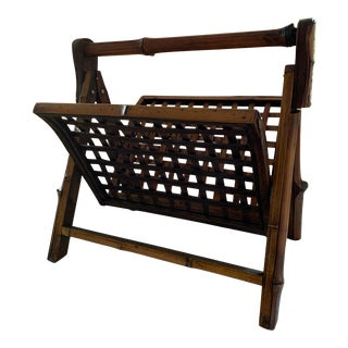 Vintage Folding Bamboo and Rattan Magazine Rack For Sale