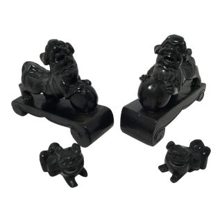 Black Onyx Foo Dogs - Set of 4 For Sale