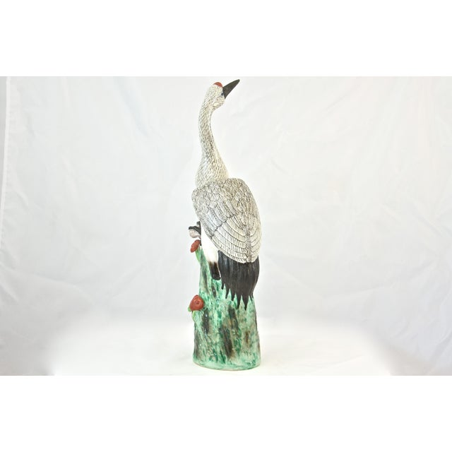 Hand Painted Chinese Crane Statue For Sale - Image 4 of 7