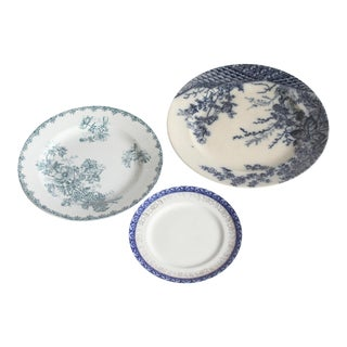 1930s French China Blue Plates - Set of 3 For Sale