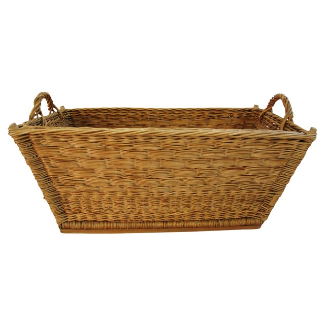 Early 1900s French Willow & Wicker Market Basket For Sale