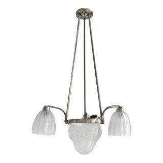 French Art Deco Pendant Light with Etched Floral Shades For Sale