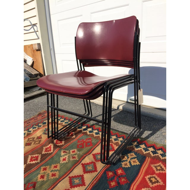 David Rowland for Rowe 40/4 Stackable Chairs- Set of 4 For Sale - Image 9 of 11