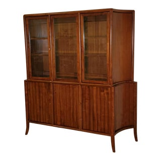 Vintage T. H. Robsjohn-Gibbings 2 Part Credenza and Glass Top Cabinet For Sale