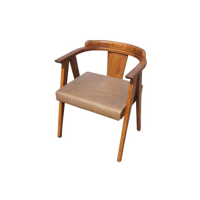 """54"""" vintage American mid century modern oak desk vanity and chair set. 6-drawer desk or vanity with splayed legs. Kidney..."""