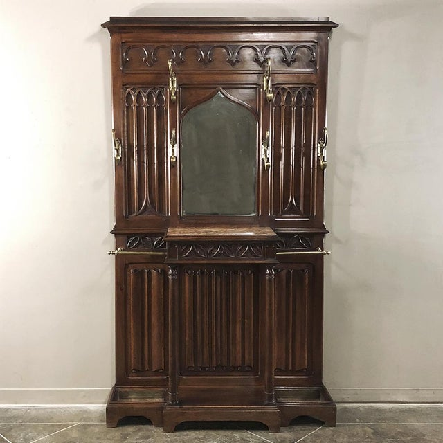 19th Century French Walnut Gothic Hall Tree For Sale - Image 12 of 12
