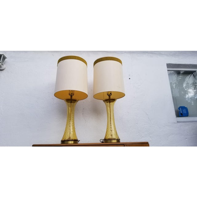 Hollywood Regency Pair of Tall Vintage Amber Glass Table Lamps For Sale - Image 3 of 13