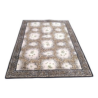Stark Studio Limited Edition-White Rose/ Leopard Print Rug For Sale