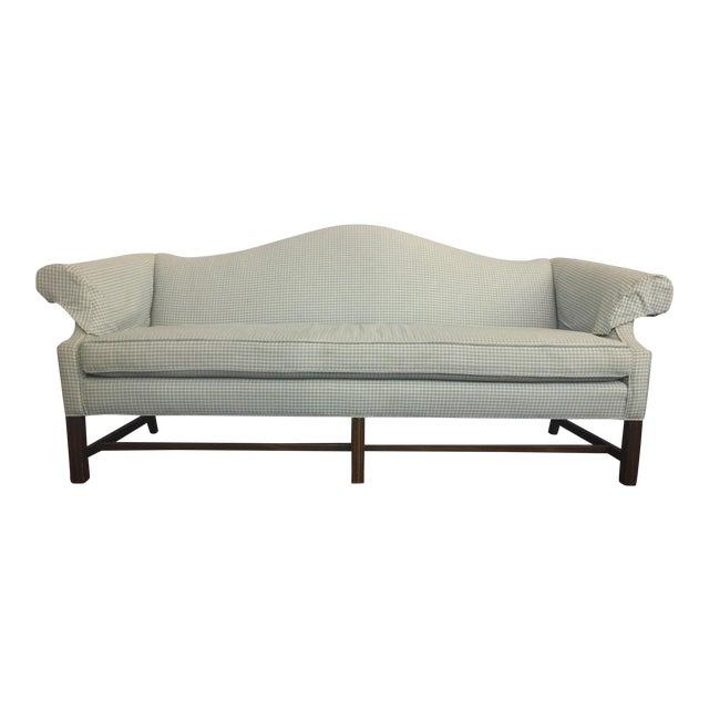 Vintage Mid Century Green & White Checkered Single Cushion Sofa For Sale