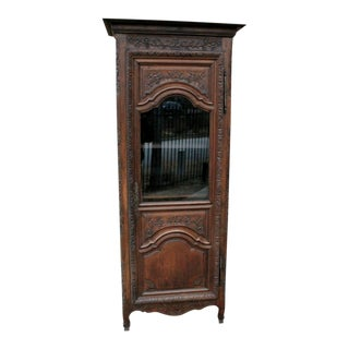 Antique French Oak Early 19th Century Louis XV Renaissance Revival Display Curio Cabinet Bookcase For Sale