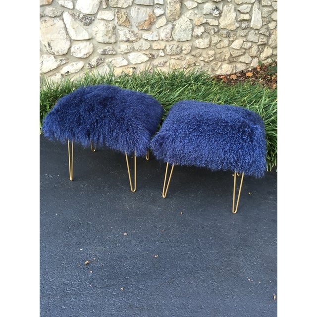Mid-Century Modern Navy Genuine Mongolian Lambs Wool Stool For Sale - Image 3 of 4